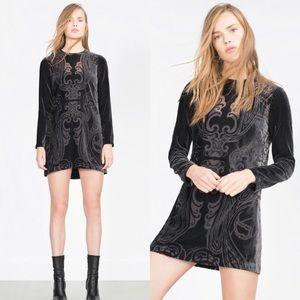 Zara Gray Velvet Long Sleeve See Through Dress